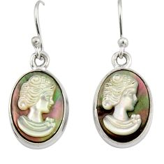 925 silver 9.98cts lady face natural titanium cameo on shell earrings r19844