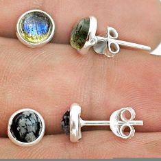 925 silver 4.22cts moonstone australian obsidian 2 pair studs earrings t50822