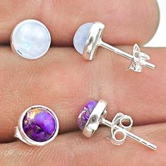 925 silver 4.63cts moonstone copper turquoise 2 pair studs earrings t50851