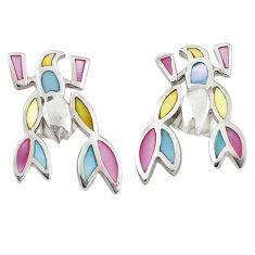 925 silver multi color blister pearl enamel dangle earrings a69649 c14293