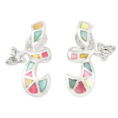 925 silver multi color blister pearl topaz enamel dangle earrings a75892 c14294