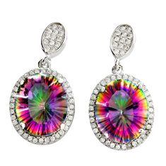 925 silver 10.32cts multi color rainbow topaz white topaz dangle earrings c9624