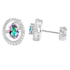 925 sterling silver multi color rainbow topaz white topaz stud earrings c10545