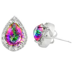925 sterling silver multi color rainbow topaz white topaz stud earrings c10549