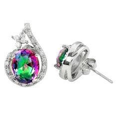 925 sterling silver multi color rainbow topaz white topaz stud earrings c10554