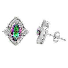 925 sterling silver multi color rainbow topaz white topaz stud earrings c10560