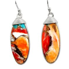 925 silver 17.53cts multi color spiny oyster arizona turquoise earrings r29304