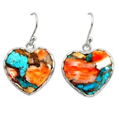 925 silver 18.12cts multi color spiny oyster arizona turquoise earrings r29318