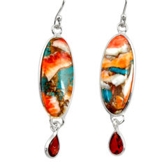 925 silver 17.53cts multi color spiny oyster arizona turquoise earrings r29330