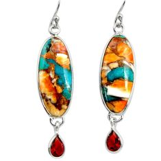 925 silver 17.53cts multi color spiny oyster arizona turquoise earrings r29331
