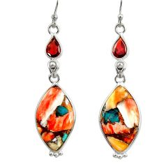 925 silver 15.93cts multi color spiny oyster arizona turquoise earrings r29335