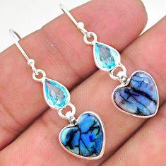 925 silver 7.41cts multi color sterling opal topaz dangle earrings t24804