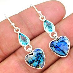 925 silver 6.94cts multi color sterling opal topaz dangle earrings t24812