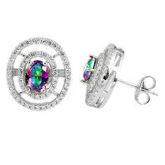925 silver 5.84cts multicolor rainbow topaz topaz stud earrings a45570 c13900