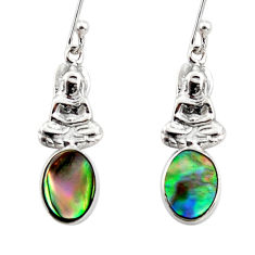 925 silver 2.94cts natural abalone paua seashell buddha charm earrings r48216