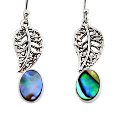 925 silver 3.32cts natural abalone paua seashell deltoid leaf earrings r48204