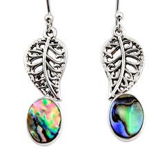 925 silver 3.33cts natural abalone paua seashell deltoid leaf earrings r48231