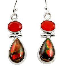 925 silver 10.74cts natural ammolite (canadian) cornelian dangle earrings r39554