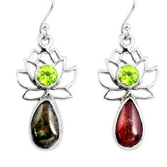925 silver 7.90cts natural ammolite (canadian) dangle flower earrings r56244