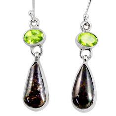 925 silver 10.13cts natural ammolite (canadian) peridot dangle earrings r56252