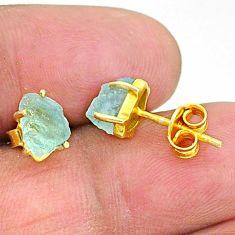 4.72cts natural aqua aquamarine raw 14k gold handmade earrings t7624