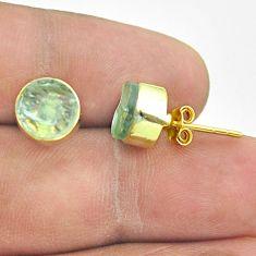 925 silver 6.70cts natural aqua aquamarine raw 14k gold stud earrings t52351