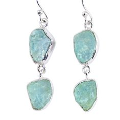 925 silver 15.69cts natural aqua aquamarine rough dangle earrings jewelry r55424