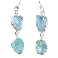 925 silver 14.42cts natural aqua aquamarine rough dangle earrings r55428