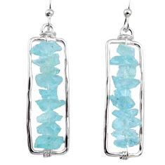 925 silver 14.38cts natural aqua aquamarine rough dangle earrings r65645
