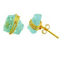 8.38cts natural aqua aquamarine raw fancy 14k gold handmade stud earrings r79784