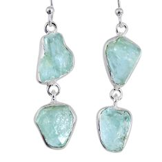 925 silver 15.55cts natural aqua aquamarine rough fancy dangle earrings r55411
