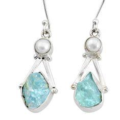925 silver 11.66cts natural aqua aquamarine raw white pearl earrings r73006