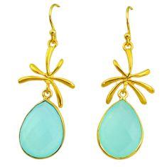 16.68cts natural aqua chalcedony 14k gold handmade dangle earrings t11468