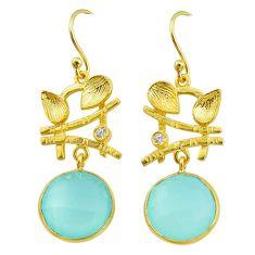 12.03cts natural aqua chalcedony 14k gold handmade dangle earrings t11538