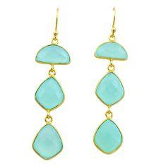 925 silver 16.88cts natural aqua chalcedony 14k gold dangle earrings t44156