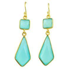 925 silver 12.35cts natural aqua chalcedony 14k gold dangle earrings t44224