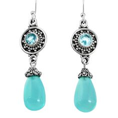 925 silver 18.41cts natural aqua chalcedony blue topaz dangle earrings r59847