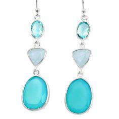 925 silver 20.40cts natural aqua chalcedony moonstone dangle earrings r26018