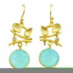 925 silver 12.36cts natural aqua chalcedony topaz 14k gold earrings t44174