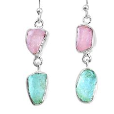 925 silver 9.83cts natural aquamarine rose quartz raw dangle earrings r74245