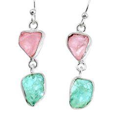 925 silver 9.86cts natural aquamarine rose quartz raw dangle earrings r74251