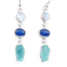 925 silver 13.28cts natural aquamarine raw kyanite moonstone earrings t38268