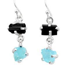 925 silver 10.08cts natural aquamarine rough tourmaline raw earrings t25565