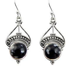 925 silver 6.43cts natural black australian obsidian dangle earrings r31007