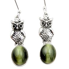 925 silver 8.62cts natural black cat's eye sillimanite owl earrings d47600