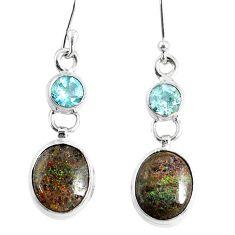 925 silver 9.83cts natural black honduran matrix opal dangle earrings r76144