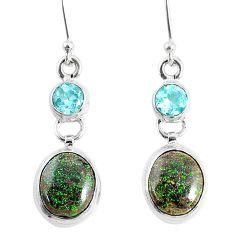 925 silver 10.19cts natural black honduran matrix opal dangle earrings r76148