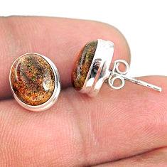 925 silver 8.15cts natural black honduran matrix opal round stud earrings r76107