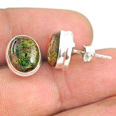 925 silver 8.22cts natural black honduran matrix opal round stud earrings r76111