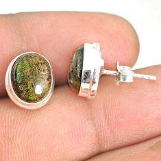 925 silver 8.10cts natural black honduran matrix opal round stud earrings r76128